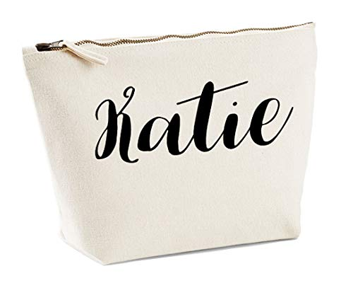 Katie Personalised Make Up Accessory Bag In Natural Colour Black Print Birthdays Weddings Christmas Makeup from Daytripper