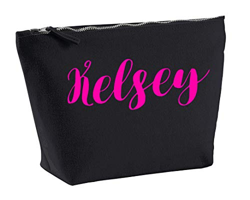 Kelsey Personalised Make Up Accessory Bag In Black Colour Neon Pink Print Birthdays Weddings Christmas Makeup from Daytripper