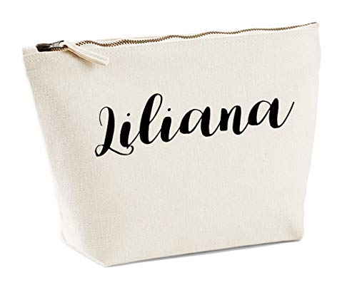 Liliana Personalised Make Up Accessory Bag In Natural Colour Black Print Birthdays Weddings Christmas Makeup from Daytripper