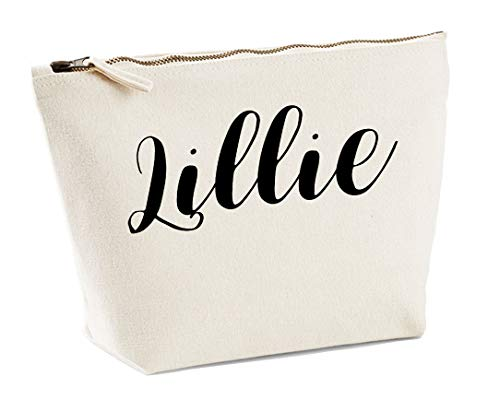 Lillie Personalised Make Up Accessory Bag In Natural Colour Black Print Birthdays Weddings Christmas Makeup from Daytripper