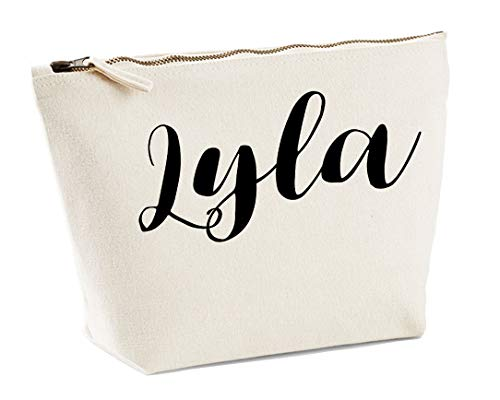 Lyla Personalised Make Up Accessory Bag In Natural Colour Black Print Birthdays Weddings Christmas Makeup from Daytripper