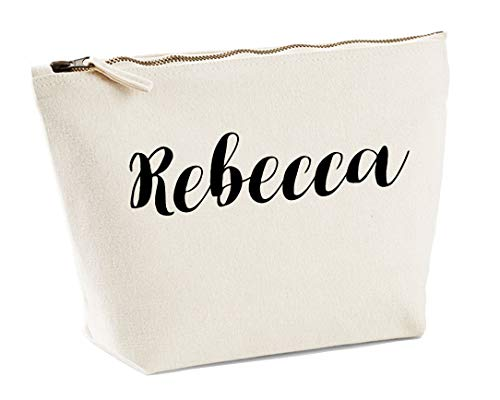 Rebecca Personalised Make Up Accessory Bag In Natural Colour Black Print Birthdays Weddings Christmas Makeup from Daytripper