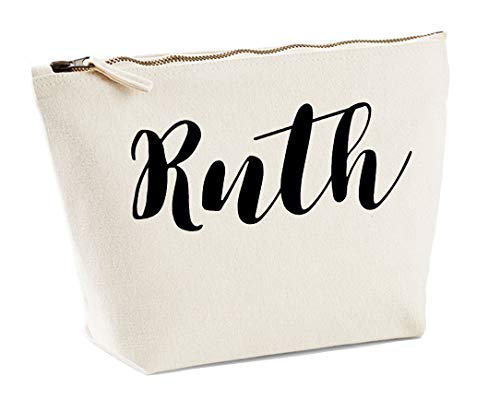 Ruth Personalised Make Up Accessory Bag In Natural Colour Black Print Birthdays Weddings Christmas Makeup from Daytripper