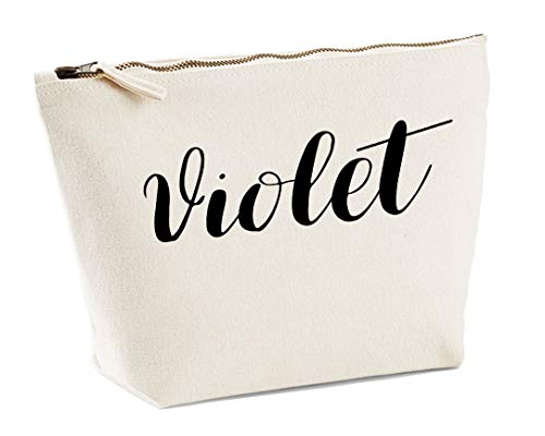 Violet Personalised Make Up Accessory Bag In Natural Colour Black Print Birthdays Weddings Christmas Makeup from Daytripper