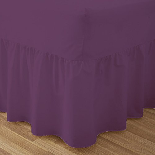 Fitted Valance Sheets King Size Kingsize Bed Sheets Dyed 9.5 '' deep Plain Poly Cotton Bedding 11'' Frilly Drop , Plum from De Lavish