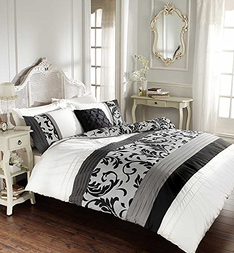 Luxury Duvet Cover Double With Pillowcases Quilt Bedding Set Reversible Poly Cotton , Scroll Black from De Lavish