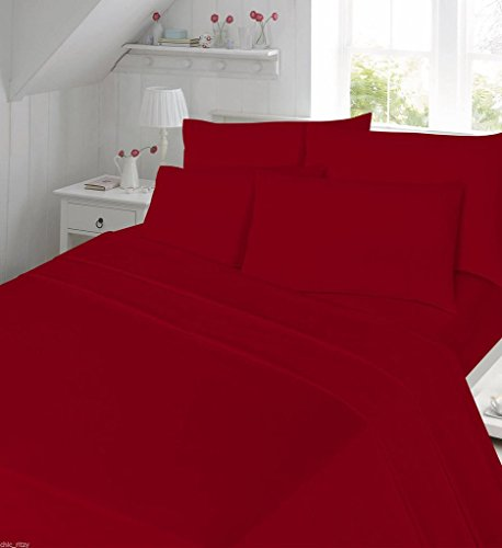 Thermal Flannelette Duvet Cover Set King Size Bed Kingsize With Pillowcases Plain Dyed Quilt Cover, Red… from De Lavish