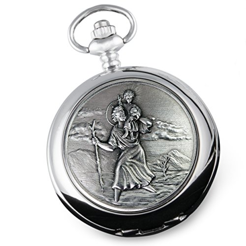 De Walden Boy's Christening Engraved St Christopher Pocket Watch in Gift Box MP from De Walden