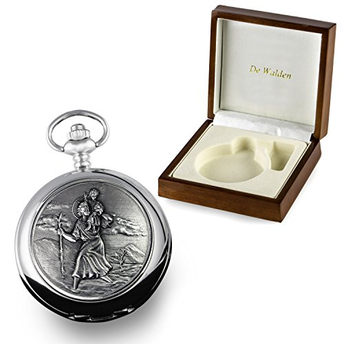 De Walden Boys Christening Gift Engraved St Christopher Pocket Watch in Wood Box from De Walden