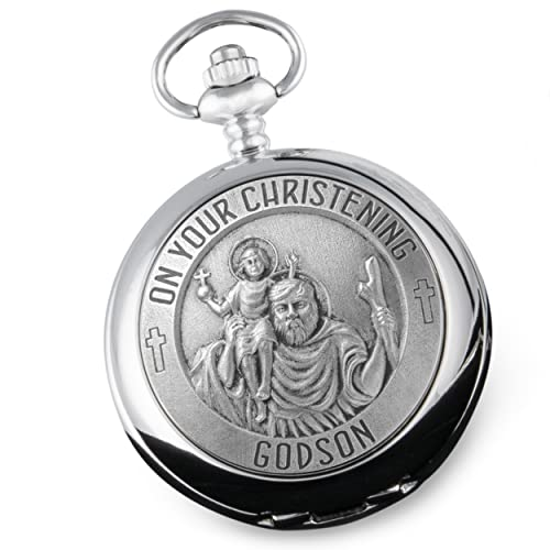 Godson Christening St Christopher Pewter Front Pocket Watch Gift Idea from De Walden