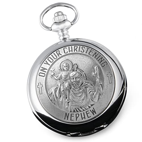 Nephew Christening St Christopher Pewter Front Pocket Watch Gift Idea from De Walden