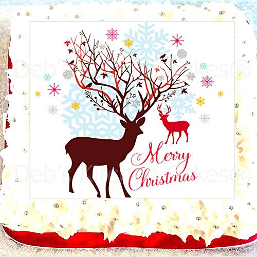 "Christmas Cake Topper - Reindeer Cake Decoration - 7.5"" Square from Debs Kitchen Cakes"