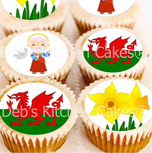 St David's Day Cupcke Toppers - Edible Wafer 4cm x 24 by Deb's Kitchen Cakes from Debs Kitchen Cakes