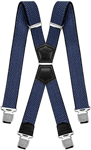 Decalen Mens Braces X Style Very Strong Clips Adjustable One Size Fits All Heavy Duty (Blue) from Decalen