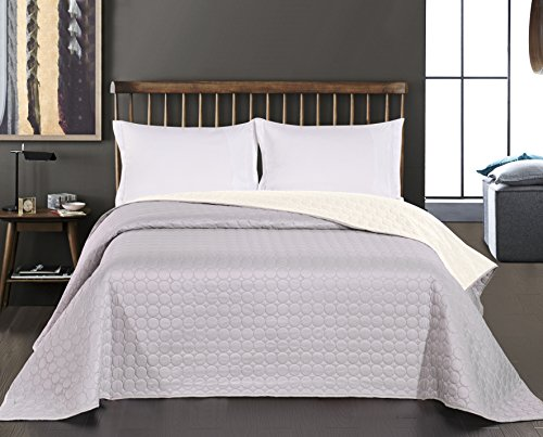 DecoKing 11799 Bed Throw, 170 x 210 cm, Ecru, Silver, Circles, Two-Sided, Easy Care, Salice from DecoKing