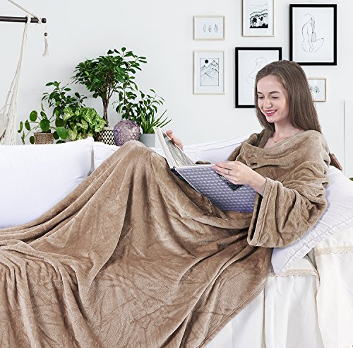 DecoKing 150 x 180 cm, TV microfibre cuddly blanket with sleeves and pockets, microfibre soft and fluffy fleece blanket, Microfibre, beige, 150 x 180 cm from DecoKing