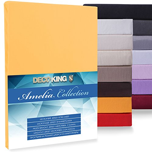 DecoKing, Amelia microfibre jersey fitted sheet, black, Microfibre, Orange, 180x200-200x220 from DecoKing