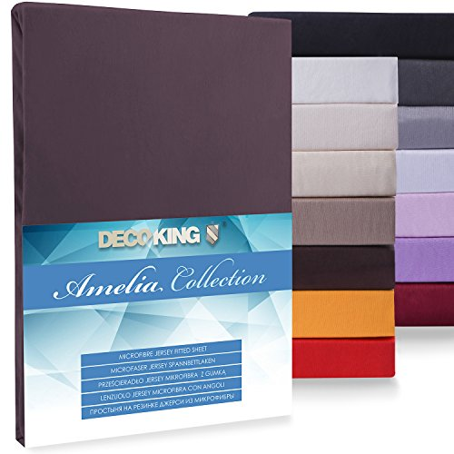 DecoKing, Amelia microfibre jersey fitted sheet, black, Microfibre, brown, 160x200-180x200 from DecoKing