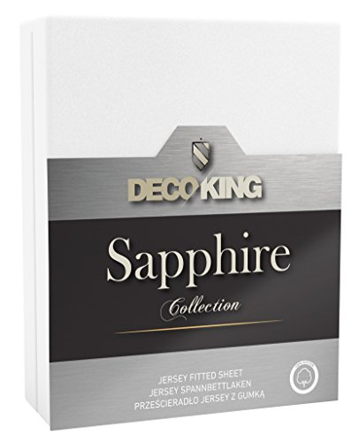 DecoKing cotton jersey fitted sheet, Sapphire Collection, Cotton, White, 120 x 200-140 x 200 cm from DecoKing