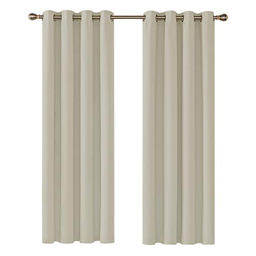 Deconovo Ring Top Curtains Thermal Insulatde Blackout Curtains for Livingroon with Two Matching Tie Backs 46 x 72 Inch Light Beige from Deconovo