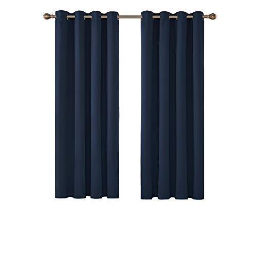 Deconovo Solid Thermal Insulated Curtains Eyelet Blackout Curtains for Bedroom with Two Matching Tie Backs 46 x 54 Inch Navy Blue from Deconovo