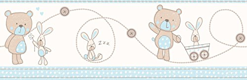 Decorline Carousel Bear and Boo Wallpaper Border, Blue from Decorline