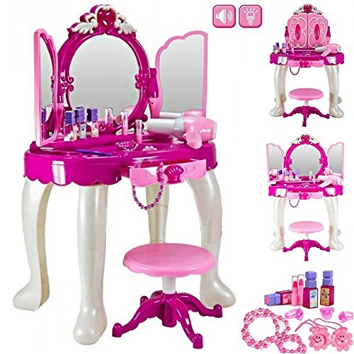 Delex Girls Glamour Mirror Makeup Dressing Table Stool Playset Toy Vanity with Light and Music Pink from Delex