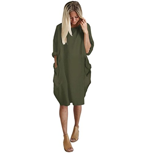Deloito Womens Pocket Loose Dress, Ladies Crew Neck Casual Long Tops Dress Plus Size (Army Green, Medium) from Deloito