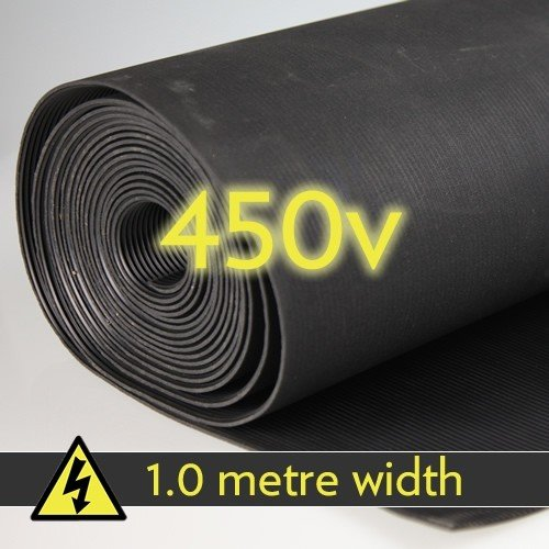 450v Electrical Safety Matting - 1000mm wide x 6mm thick. Choose your length (1m) from Delta Rubber Limited