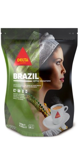 Delta Ground Roasted Coffee from BRAZIL for Espresso Machine or Bag 250g from Delta