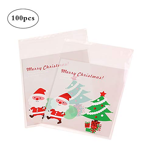 Demarkt 100 Pcs Christmas Candy Biscuit Bags Self Adhesive Cellophane Plastic Xmas Gift Package for Candy Wedding Anniversary Christmas Party from Demarkt