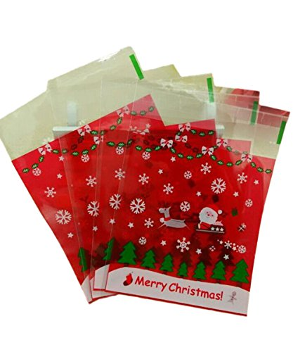 Demarkt 100 Pcs Self Adhesive Christmas Cookie Bags Cellophane Plastic Sealed Xmas Gift Package for Candy Food Gift Treat Bag Wedding Anniversary Xmas Party from Demarkt