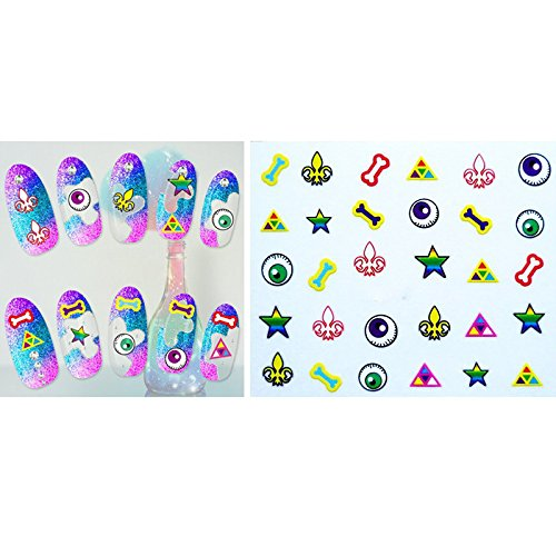 Demarkt Monster Series 3D Nail Stickers - Nail Art Stickers Self-adhesive Nail Tips Decorations for kids girls women from Demarkt