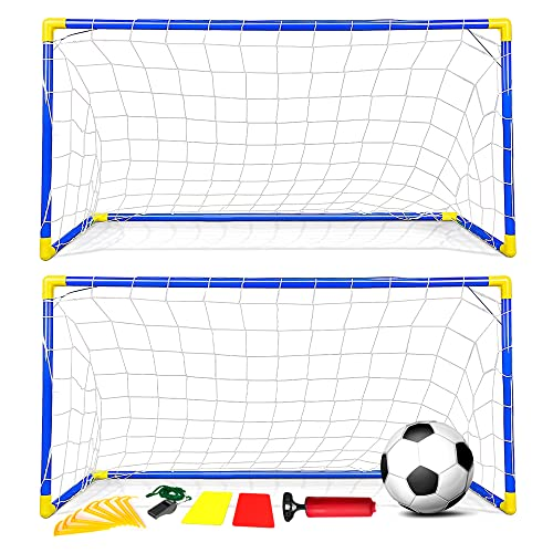 Kids Children Football Goal Post Net Ball With Pump Whistle Toy Indoor/Outdoor Soccer (Double/Twin) from Denny International