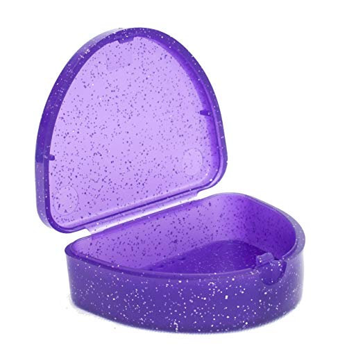 Slim Orthodontic Dental Case - Colour & Glitter Choices for Retainers, Bleaching Trays, Dentures & More (Glitter Purple) from Orthocare