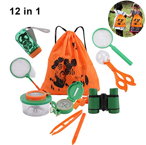 DesignerBox 10 Pack Outdoor Explorer Kit, Kids Adventurer Exploration Equipment Set with Binoculars, Flashlight, Compass, Magnifying Glass, Bug Collector, Bug Catcher for Hunting & Bird Watching from DesignerBox