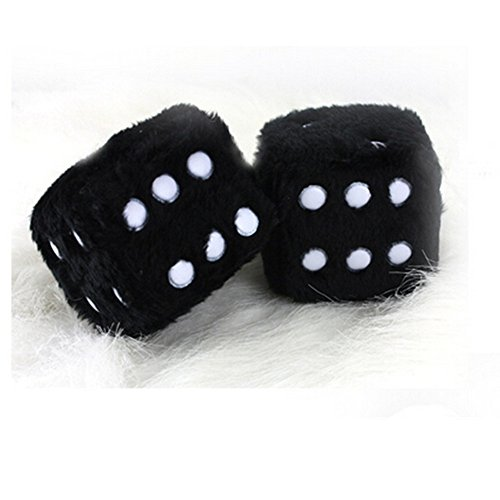 DesignerBox Pair of Hanging Couple Fuzzy Plush Dice with Dots For Car Interior Ornament Decoration (Black) from DesignerBox