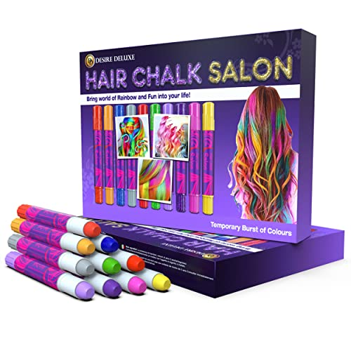 Desire Deluxe Hair Chalk Gift for Girls - 10 Temporary Non-Toxic Easy Washable Hair Dye Colourful, Metallic, Glitter Pens - Great Games Birthday Girls from Desire Deluxe