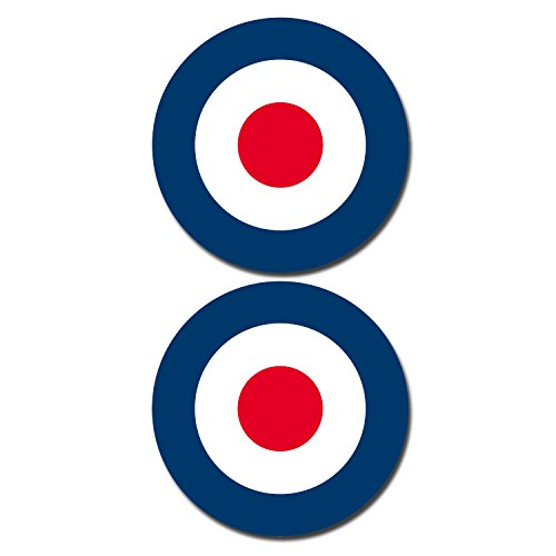 "2 x 150mm 6"" Glossy Vinyl Stickers - RAF Roundel The Who Mod Target #0215 (Static Cling for Windows) from DestinationVinyl"