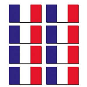 8 x Glossy Vinyl Stickers - French France Small Flag Flags Helmet Bike Motorbike #0195 (2.5cm tall x 4.6cm wide) from DestinationVinyl