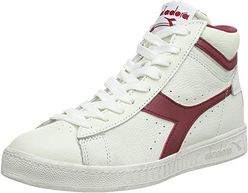 Diadora Unisex Adults' Game L High Waxed Hi-Top Trainers, Multicolour (Bianco/Rosso Peperone C5147), 11 UK from Diadora