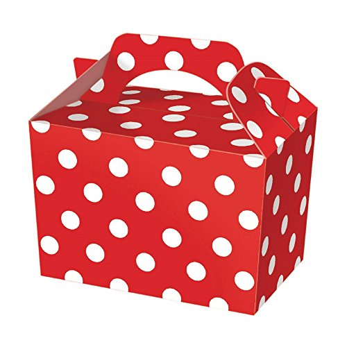 Diamante Crafts 10 Party Boxes Polka Dot - Cardboard Lunch Food Loot Spot Treat Box - 6 Colours (10 Red Polka Boxes) from Diamante Crafts