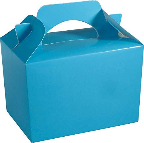 Diamante Crafts 10 Party Boxes Solid Colour Plain Cardboard Lunch Food Loot Treat Box 20 Colours (10 Plain - Baby Blue) from Diamante Crafts