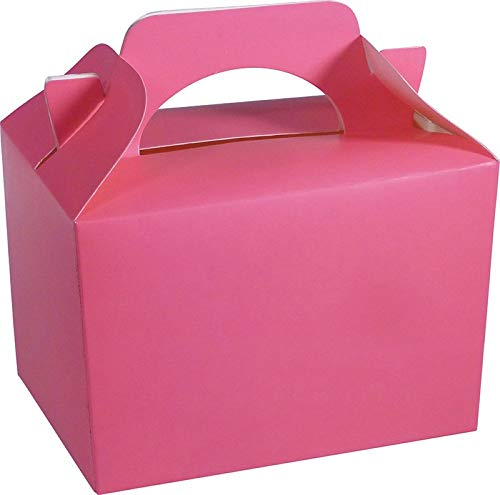 Diamante Crafts 10 Party Boxes Solid Colour Plain Cardboard Lunch Food Loot Treat Box 20 Colours (10 Plain - Neon Pink) from Diamante Crafts