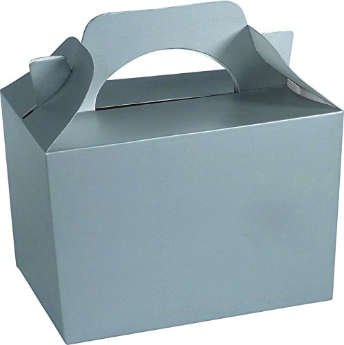 Diamante Crafts 10 Party Boxes Solid Colour Plain Cardboard Lunch Food Loot Treat Box 20 Colours (10 Plain - Silver) from Diamante Crafts