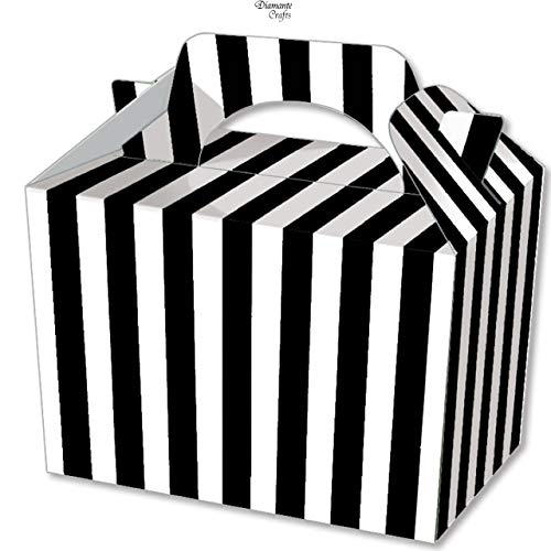 Diamante Crafts 10 Party Boxes Stripe - Cardboard Lunch Food Loot Spot Treat Box - 6 Colours (10 Black Stripe Boxes) from Diamante Crafts