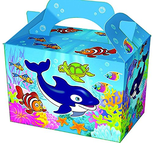 Diamante Crafts 10 Party Boxes -Themed Character Cardboard Lunch Food Loot Treat Box -16 Designs (10 - Sea Life Boxes) from Diamante Crafts