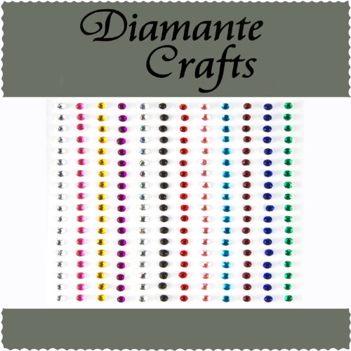 Diamante Crafts 180 x 2mm Mixed Colours Diamante Self Adhesive Rhinestone Craft Embellishment Gems - created exclusively from Diamante Crafts