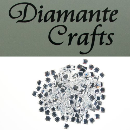 Diamante Crafts 200 x 4mm Clear Diamante Squares Loose Flat Back Rhinestone Craft Gems - created exclusively from Diamante Crafts
