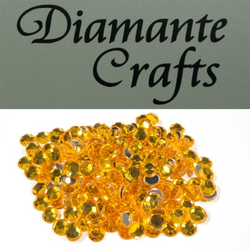 200 x 6mm Gold Diamante Loose Round Flat Back Rhinestone Craft Gems created exclusively for Diamante Crafts from Diamante Crafts